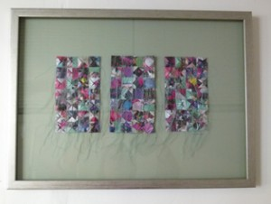 Woven textile and sewn paper work just arrived by Helen Edwards