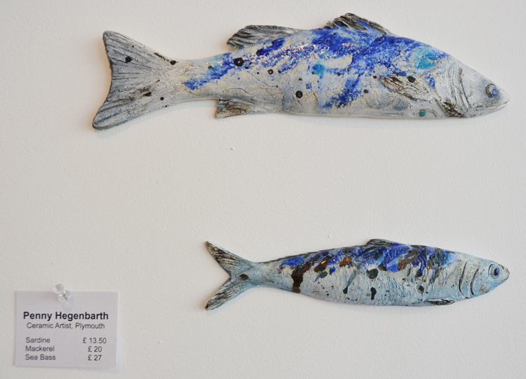 Penny Hegenbarths ceramic wall fishes are casts from real fish.