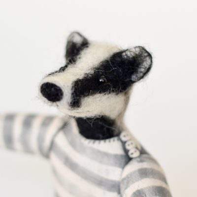 Felt Badger in Ceramic Jumper by Tracey Benton and Gwen Vaughan