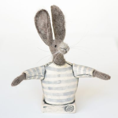 Felt Hare in Ceramic Jumper by Tracey Benton and Gwen Vaughan