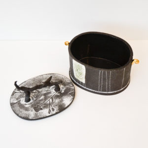 Frances Spice - Oval Black Earthenware Vessel