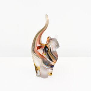 Richard Glass – Handmade Glass Cat, multicoloured, satined