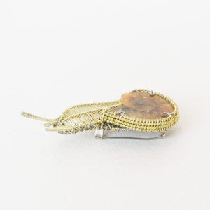 Kate Packer - Snail Wire Brooch with Fossil Ammonite
