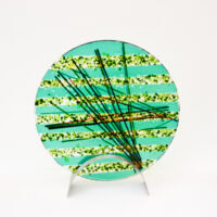 Susan Dare-Williams - Round Fused Glass Abstract with Stand