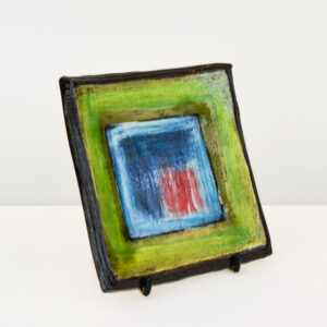 John Pollex - Square Plate, green & blue