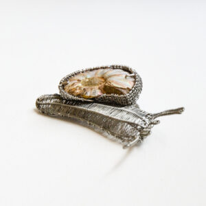 Kate Packer - Wire & Ammonite Snail Brooch
